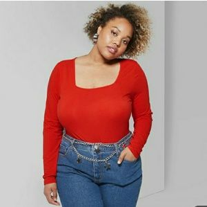 Square neck long sleeve plus size shirt top